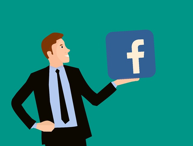 An animation of a man holding Facebook