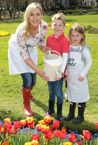 Sarah McGovern with her son Jude Vaughan(6 years old) and daughter Robyn Vaughan (4 years old ) pictured  as they launched  GroMór 2018 in Merrion Square, Dublin  ahead of  Lá Bealtaine 1st May which officially marks the start of summer.  GroMór 2018, a nationwide campaign is aimed at encouraging everyone to visit their local garden centres and get growing. Pic Brian McEvoy
