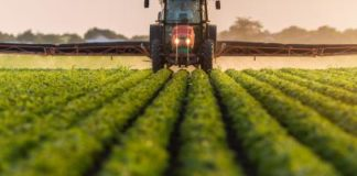 Tractor spraying fields with pesticides.