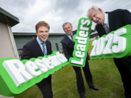 Pictured at the launch of Research Leaders 2025 are (L to R): Raymond Kelly, Head of Reseach Support, Teagasc; Mr Michael Creed TD, Minister for Agriculture, Forestry and the Marine; Declan Troy, Assistant Director of Research, Teagasc