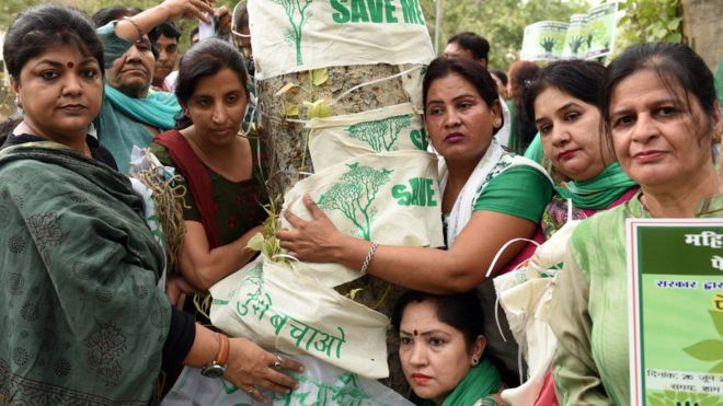 In one such protest, Delhi residents hugged trees that were to be cut. Image copyright: GETTY IMAGES