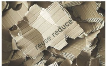 Cut paper with caption: reuse, reduce