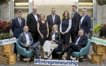 Foodworks Launch. Paddy Callaghan, Natures BVest, David McKernan, Java Republic, Pat Rigney, The Shed Distillery, Nicola Nic Phaidin, Enterprise Ireland, Ed O'Neill, Teagasc, Ann Murray, Lir Chocolates, Karen Tyner, Bord Bia, John O'Brien, O'Brien Fine Foods, Larry Murrin, Dawn Farm Foods and Stephen Twadell, Food Investor & Business Coach; Photo Chris Bellew /Fennell Photography Copyright 2018