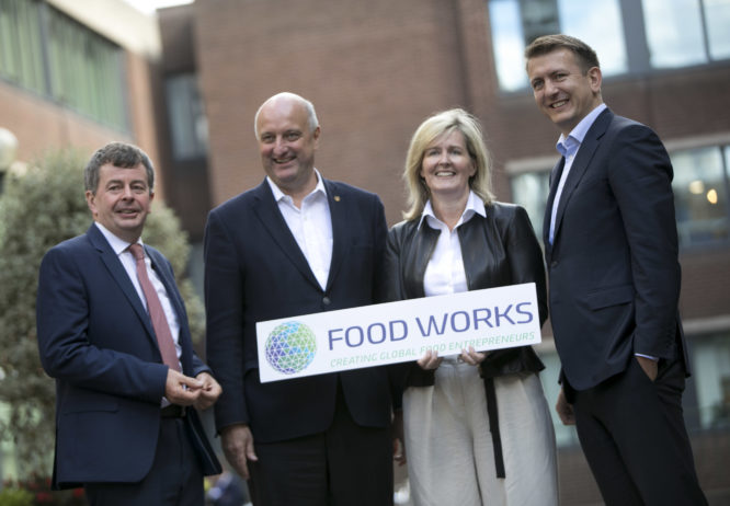 Foodworks Launch. Paddy Callaghan, Nature's Best; Pat Rigney, The Shed Distillery; Ann Murray, Lír Chocolates; John O'Brien, O'Brien Fine Foods; Photo Chris Bellew /Fennell Photography Copyright 2018