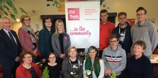 Laura Henderson of Out There Sevices with Foundation Degree Horticulture students at the launch of the new Out There services bursary. Looking on is Paul Mooney Head of Horticulture branch at CAFRE
