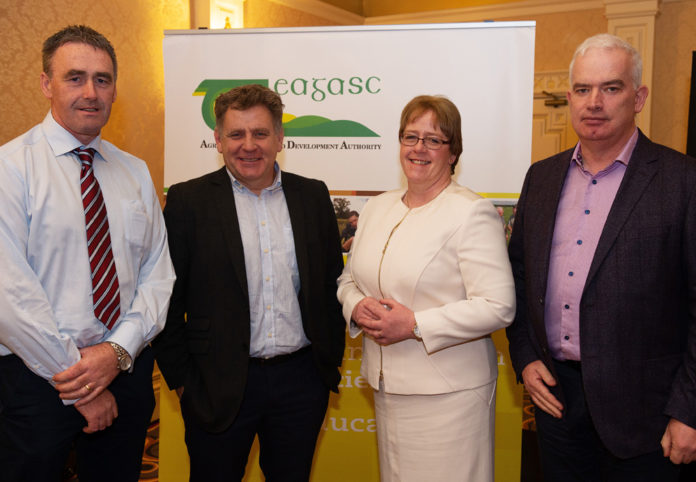 Declan Byrne, SUAS EIP; Patrick McGurn, Aran Life; Catherine Keena, Countryside Management, Teagasc and Fergal Monaghan, The Hen Harrier Project pictured at the National Agri-Environment Conference 2018 at the Lady Gregory Hotel, Gort, Co. Galway. Photos courtesy of Teagasc, Photo:Andrew Downes, xposure