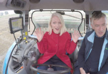 Dermot Forristal, Teagasc Crops Research Centre, Oak Park, Carlow, with presenter Kathriona Devereaux experiencing the future of farming inside a satellite-controlled smart tractor on '10 Things to Know About ... Space' tonight on RTÉ 1 at 8.30pm.