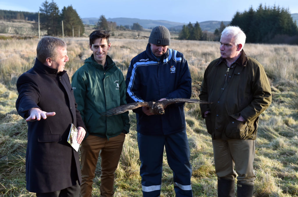 The Minister for Agriculture, Food and Marine  Micheal Creed TD  with Dr Fergal Monaghaan, project manager Hen Harrier project ;  Dr Barry O'Donoghue, department  culture, heritage and the Gaeltacht,and Jack Lynch, Farm owner ,Cardowmey, Macroom