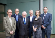 "Dr Alan Sloane, UCC; Dr James McIntosh, safefood; Prof. Gerry Boyle, Teagasc; Dr Seamus O'Reilly, UCC; Ron McNaughton, Food Standards Scotland and Prof. Maeve Henchion, Teagasc at ""Food supply chain integrity on the island of Ireland: the potential of blockchain technology"" seminar at Teagasc Ashtown."