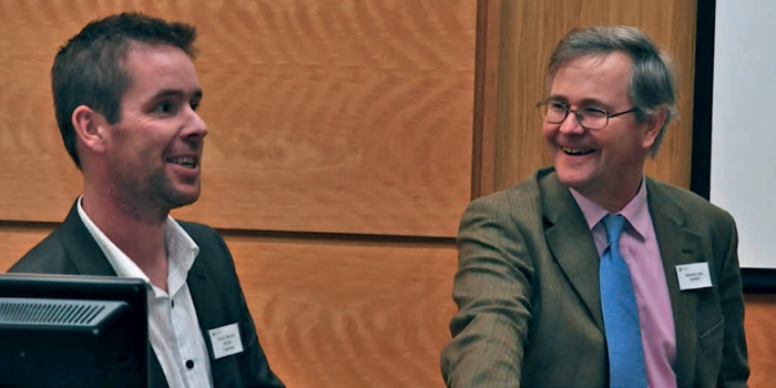 Former chairman, David Shortall exchanges some banter with Dr. Matthew Jebb at the annual Design Seminar in 2012. The annual event is one of the highlights of Ireland's design calendar.