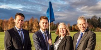 Jason Podris, College Advisory Group and Head Greenkeeper at Fortwilliam GC, Wendy Coles R&A; Callum Burnside, R&A Scholar and Paul Mooney head of Horticulture, CAFRE.