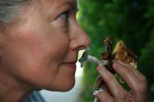Enjoying the aroma, during a workshop on fungi in 2009.