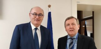 Minister for Agriculture Food and the Marine Michael Creed T.D. with European Commissioner for Agriculture and Rural development, Phil Hogan.