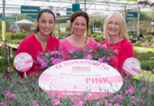 Glanbia CountryLife has launched its first ever Plant Pink campaign in all 14 of its award-winning garden centres across Leinster and Munster. It wants everyone to buy a special Pink Dianthus, to become more breast cancer aware and to support the fundraising drive. CountryLife will donate €2 to Breast Cancer Ireland for every limited edition Pink Dianthus sold. Members of the public can also support the initiative by logging on to the store's website, www.countrylife.ie Pictured at the campaign launch at Glanbia CountryLife in Castlecomer, Kilkenny, were Jess Kelly, Glanbia CountryLife; Teresa Walsh, Horticulturalist at Glanbia CountryLife in Castlecomer and Nuala Young, Young Nurseries in Co Limerick.