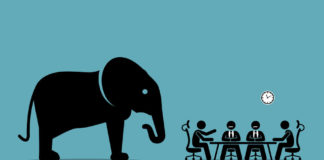 elephant in the room. vector artwork illustration depicts the concept of obvious problem, avoiding difficult situation, and evading unpleasant scenario