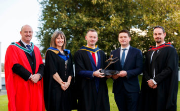 Dr. Anthony Keane and Rachel Freeman are pictured with James Brady, recipient of the annual 'Academic Excellence in Horticulture Award' sponsored by Westland Horticulture and Westland's Sales Manager, Colm O'Keeffe and Paul Stacey. James graduates the programme with a BSc Horticulture (Hons)