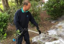Foam weedkiller in action in Barry, Wales;