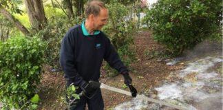 Foam weedkiller in action in Barry, Wales;