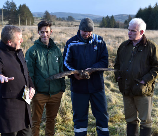 The Minister for Agriculture, Food and Marine Micheal Creed TD with Dr. Fergal Monaghaan, project manager Hen Harrier project ; Dr. Barry O'Donoghue, department culture, heritage and the Gaeltacht,and Jack Lynch, Farm owner ,Cardowmey, Macroom