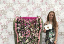 Former CAFRE student Megan Ingram who in 2018 won a bronze medal at the Chelsea Flower Show for creating a Floral Throne inspired by Queen Victoria.