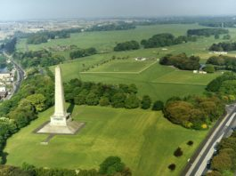 Aerial view of the Phoenix Park, Dublin City, Ireland inc. the Wellington Monument in the foreground.