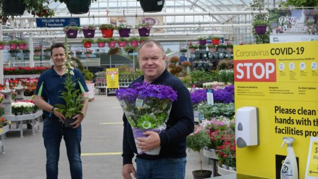 Nigel McEvoy (left), operations manager, and Carl Jones, owner, of Jones Garden Centre, Donabate have been making their centre safe for customers in the ongoing pandemic ahead of their reopening. Photograph: Alan Betson/The Irish Times