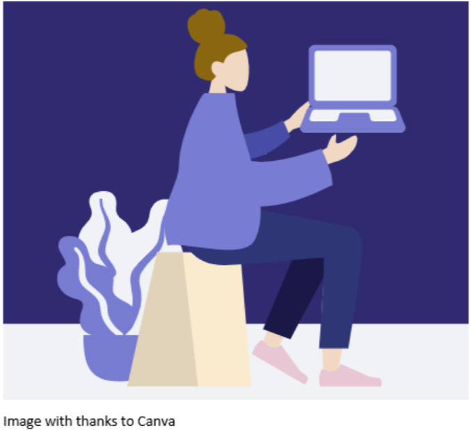 An image of an illustration of a woman with a laptop