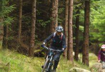 A man biking in Dublin forests