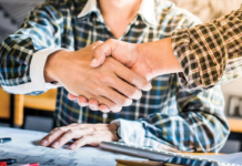 Shaking hands during meeting